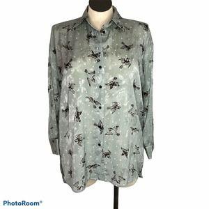 Zara Bird Print Blouse Large Green Long Sleeves